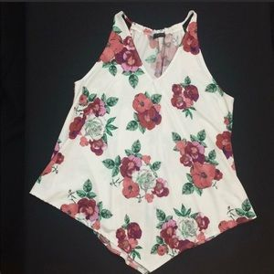 First love floral flowy tank top